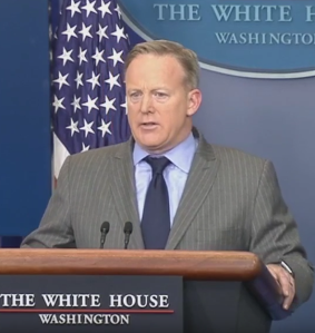 Sean Spicer at Press Room Podium